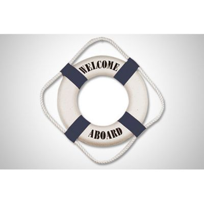 SALVAVIDAS DECORATIVO AZUL Y BLANCO WELCOME A BOARD MEDIDAS:25 CM DIÁMETRO