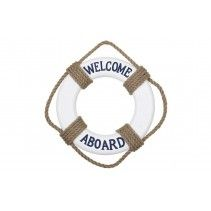 SALVAVIDAS DECORATIVO WELCOME A BOARD AZUL Y BLANCO MEDIDAS: 30 CM DIÁMETRO